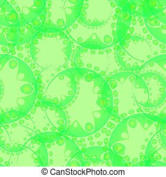Vector abstract seamless gentle pattern of light green tentacles and bubbles on a green background for tissue or paper.