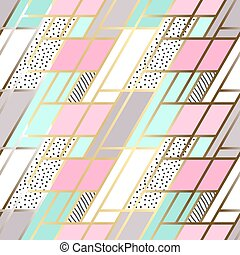 Vector abstract seamless patchwork pattern with geometric and floral ornaments, stylized flowers, dots and gold outline. Pastel blue lilac pink background.