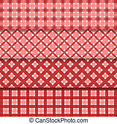 Vector abstract seamless set background with red shapes nd shadows