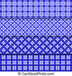 Vector abstract seamless pattern set with blue geometric shapes and shadows