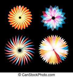 Vector abstract set of glowing multicolored flowers