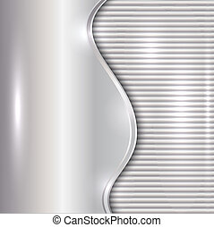 Vector abstract silver background with curve and stripes -...