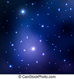 Vector abstract space background with stars. blue space nebula and black hole. image of distant galaxies, planets glow.