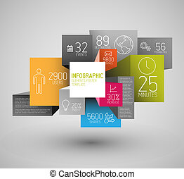 Vector abstract squares and cubes background illustration / infographic template