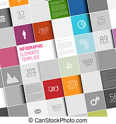 Vector abstract squares infographic template