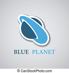 vector abstract stylized blue planet icon