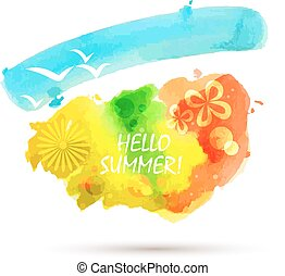 vector abstract summer watercolor background