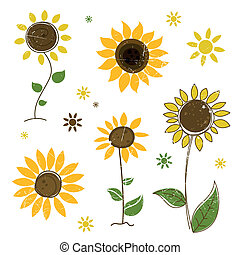 Vector Abstract Sunflowers