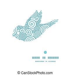 Vector abstract swirls bird silhouette pattern frame