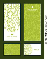 Vector abstract swirls texture vertical frame pattern invitation greeting, RSVP and thank you cards set graphic design
