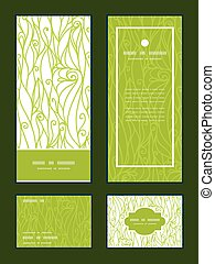 Vector abstract swirls texture vertical frame pattern invitation greeting, RSVP and thank you cards set