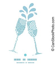 Vector abstract swirls toasting wine glasses silhouettes pattern frame