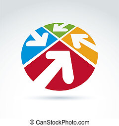 vector, abstract, symbool, vier, richtingwijzer, pictogram, ronde, 3d
