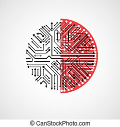 Vector abstract technology illustration with round black and red circuit board. High tech circular digital scheme of electronic device, multidirectional arrows.