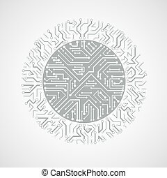 vector abstract technology illustration with round monochrome