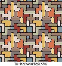 Vector abstract tetris background - vintage seamless color pattern eps8