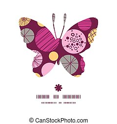 Vector abstract textured bubbles butterfly silhouette pattern frame