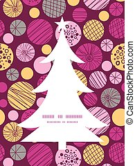 Vector abstract textured bubbles Christmas tree silhouette pattern frame card template