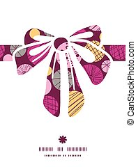 Vector abstract textured bubbles gift bow silhouette pattern frame