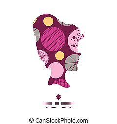 Vector abstract textured bubbles girl portrait silhouette pattern frame