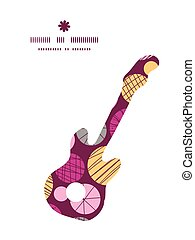 Vector abstract textured bubbles guitar music silhouette pattern frame