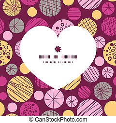 Vector abstract textured bubbles heart silhouette pattern frame