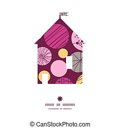 Vector abstract textured bubbles house silhouette pattern frame