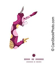 Vector abstract textured bubbles jumping girl silhouette pattern frame