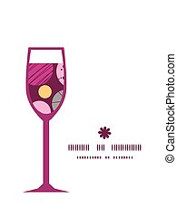 Vector abstract textured bubbles wine glass silhouette pattern frame