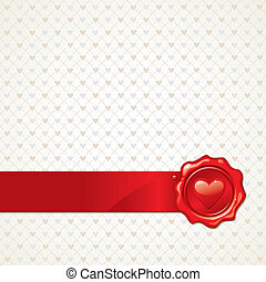 Vector abstract Valentines background with heart sealing wax stamp
