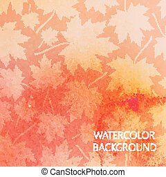 vector abstract watercolor background for your design. autumn pattern with maple leaves