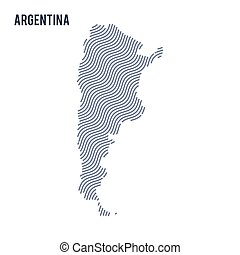 Vector abstract wave map of Argentina isolated on a white background.