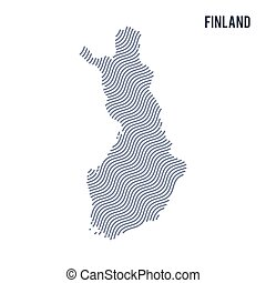 Vector abstract wave map of Finland isolated on a white background.