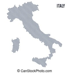 Vector abstract wave map of Italy isolated on a white background.