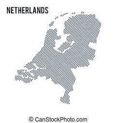 Vector abstract wave map of Netherlands isolated on a white background.