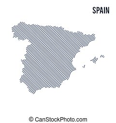 Vector abstract wave map of Spain isolated on a white background.