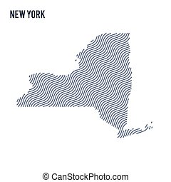 Vector abstract wave map of State of New York isolated on a white background.