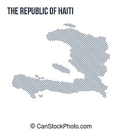 Vector abstract wave map of The Republic of Haiti isolated on a white background.