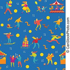Vector abstract winter seamless pattern with people for Christmas