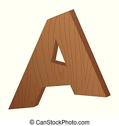 Vector abstract wooden letter A.