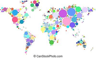 Vector abstract worldmap colorful dots isolated on white background