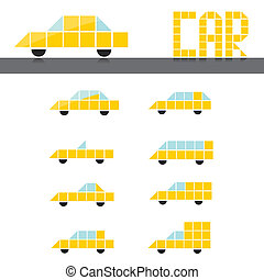 vector abstract yellow glossy cars