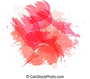 Vector Abtract Brush Strokes, Grunge Style, Background, Living Coral Color.