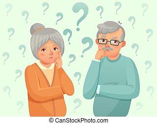vector, abuela, confuso, tratar, pensamiento, aduelo, seniors, anciano, recordar, caricatura, pareja., personas., ilustración, olvídese