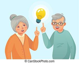 vector, abuela, gente, issue., pensamiento, tener, idea., viejo, seniors, anciano, caricatura, aduelo, pareja mayor, ilustración, idea