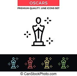 Vector Academy Awards icon. Oscar statuette. Thin line icon