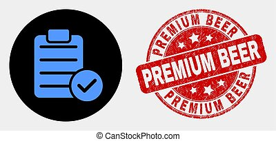 Vector Accept Pad Text Icon and Grunge Premium Beer Stamp
