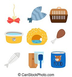 Vector accessories and food for cats icons set