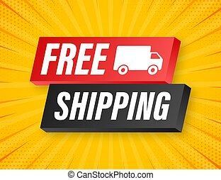 vector, acción, libre, shipping., truck., illustrtaion., insignia