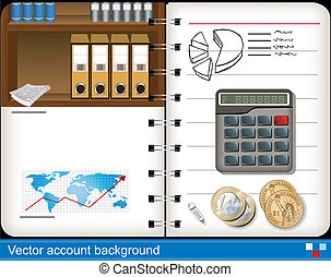 Illustration of vector accounting notebook background